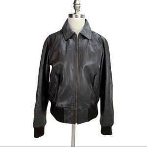 J. Crew Brown Leather Bomber Jacket S